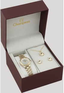 Kit De Relógio Analógico Champion Feminino + Colar + Brinco - Ch24946W Dourado - Único