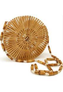 cdaa097b2 ... Bolsa De Madeira Artestore Varetas Bambu Redonda Design Vazado -  Feminino-Bege