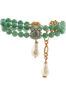 Dolce & Gabbana Colar Com Contas E Aplicações - Verde