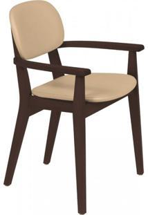 Cadeira Estofada Com Braços London Tramontina Tabaco/Bege
