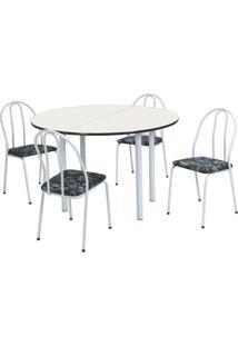 Conjunto De Mesa Com 4 Cadeiras Raquel Corino Branco E Preto - Única