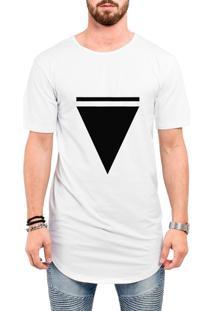 Camiseta Criativa Urbana Long Line Oversized Triangulo Branca