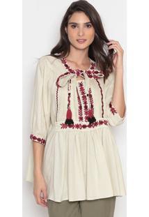 Blusa Com Bordados & Amarração- Bege & Bordô- Cottoncotton Colors Extra