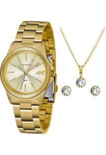 Kit Relógio Lince Feminino Funny Analógico Dourado Lrgh125L-Kx22C1Kx - Kanui
