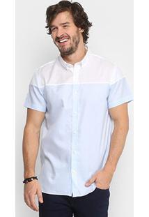 Camisa Calvin Klein Bicolor Detalhe Barra Masculina - Masculino-Azul Claro