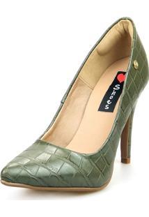 Scarpin Love Shoes Social Bico Fino Salto Alto Basico Croco Verde