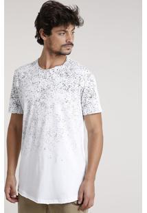 Camiseta Masculina Longa Com Respingos Manga Curta Gola Careca Branca