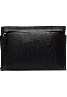 Loewe Black T Pouch Linen Leather Clutch Bag - Preto