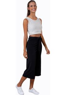 Cropped Bella Canvas 3572 Branco Listrado