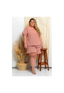 Blusa Plus Size Básica Decote V: Rosa Nude: G1 - 48/50 Nude