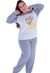 Pijama Feminino Victory Inverno Plus Size Frio Dormir - Feminino-Cinza