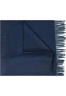 Mazzarelli Cachecol De Tricô Leve Com Franjas - Azul