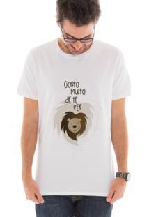 Camiseta Manga Curta Touts Leãozinho Branco