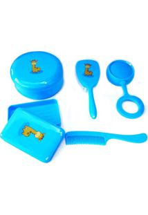 Kit Banho Para O Bebê Lullybebê Com Pente, Escova, Saboneteira, Chocalho E Porta Utilidades Azul