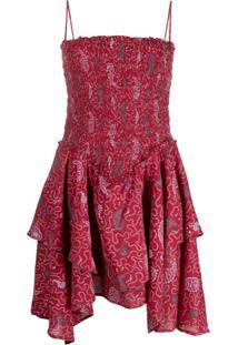 Isabel Marant Étoile Vestido Anka Com Babados - Vermelho