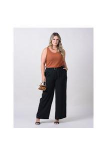 Calça Pantalona Almaria Plus Size New Umbi Com Cinto Preto