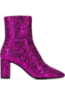 Saint Laurent Ankle Boot Com Brilho - Rosa