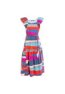 Vestido Listra Irregular - Azul