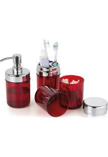 Conjunto Para Banheiro Lavabo 3 Pcs Acquaset Vermelho Forma