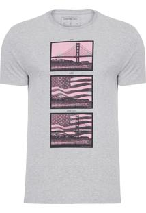 Camiseta Masculina Manga Curta Estampa - Cinza