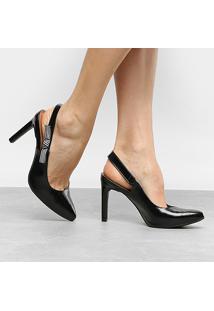 Scarpin Dakota Salto Alto Chanel Com Laço - Feminino-Preto
