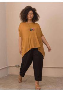 Blusa Ampla Tecido Ultra Leve Plus Size Caramelo-Ú
