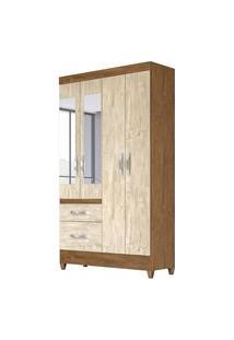 Guarda Roupa Solteiro 4 Portas E Espelho Madri Castanho/Avelã Wood - Moval