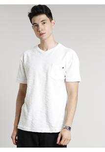 Camiseta Masculina Em Moletom Flamê Com Bolso Manga Curta Gola Careca Off White