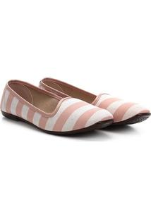 Sapatilha Moleca Sleeper Listrado Listrada - Feminino-Rosa+Branco