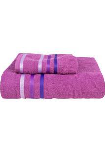 Jogo De Toalhas De Banho Caixa- Rosa Escuro & Roxo Escursultan