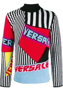 Versace Intarsia Logo Sweater - Vermelho