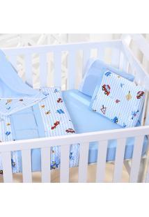 Edredom Bebê 100% Algodão Fio Penteado - Carrinho