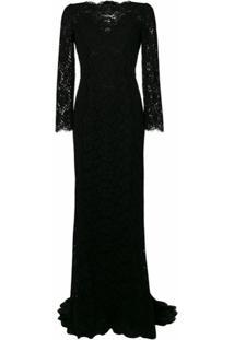 Dolce & Gabbana Vestido Longo De Renda - Preto