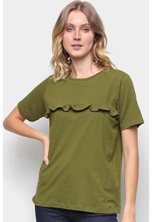 Blusa Volare Com Babado Frontal Feminina - Feminino-Verde Militar