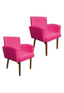 Kit 02 Poltronas Decorativa Veronês Para Sala E Recepçáo Corino Pink - D'Rossi