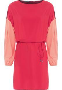 Vestido Transpasse Costas Tricolor Fyi – Vermelho