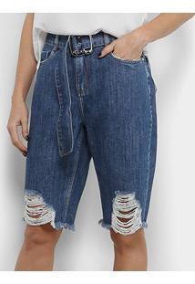 Bermuda Jeans Morena Rosa Cinto Feminina - Feminino-Azul