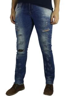 Calça Jeans Skinny Zune Rasgada Camuflada Azul