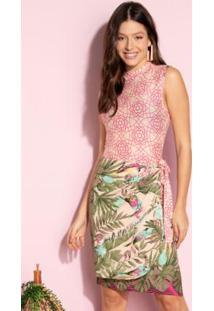 Vestido Clássico Transpassado Tropical Pink