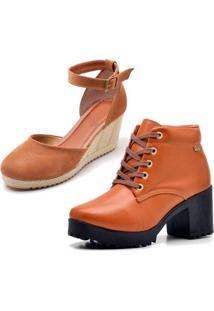 Kit Bota Coturno Ousy Shoes Mais Sandália Anabela Caramelo