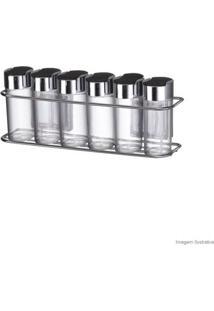 Conjunto Com 6 Porta Condimentos Com Ventosas Aço Cromado Arthi