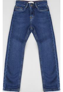Calça Jeans Infantil Slim Com Bolsos Azul Médio
