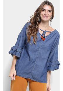 902f22290c ... Blusa Jeans Cantão Bata Boho Blue Manga Babado Feminina - Feminino-Azul  Petróleo