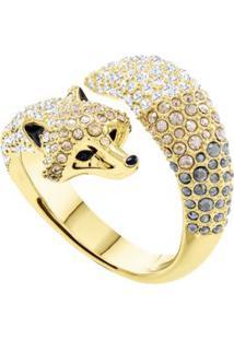 Anel March Fox Motif, Colorido, Metal Dourado