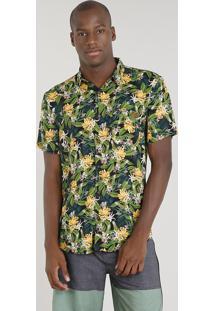 Camisa Masculina Blueman Estampada Banana Com Bolso Manga Curta Preta