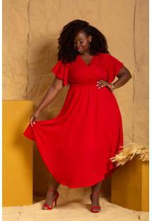 Vestido Liberty Vermelho Plus Size