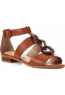Rasteira Shoestock Couro Organic Chain - Feminino-Caramelo