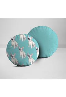 Kit 2 Almofadas Redondas Bulldog Azul