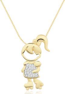 Pingente Menina De Patins Ouro Amarelo E Diamantes