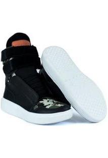 Tênis Sneaker Feminino Couro Bota De Treino Cheia De Marra - Feminino